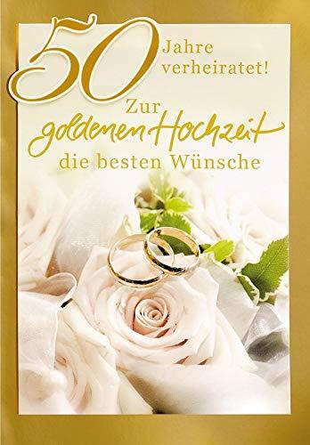 Kaart voor gouden bruiloft Basic Classic - Rose met ringen - 11,6 x 16,6 cm