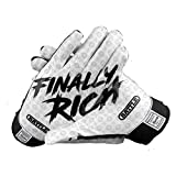 Battle Sports Black Finally Rich Receiver Gloves for Adults - Ultra-Tack Sticky Palm Pro-Style Gloves (Adult Large)