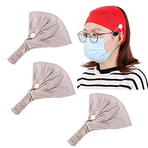 Hoofdband Non-slip Knop,elastische Rekbaar Turban Vrouwen Modern Haarband Zweetafvoerend Haar- Accessoires Voor Sport Yoga Verpleegster 3 Stuks-Rijst kleur