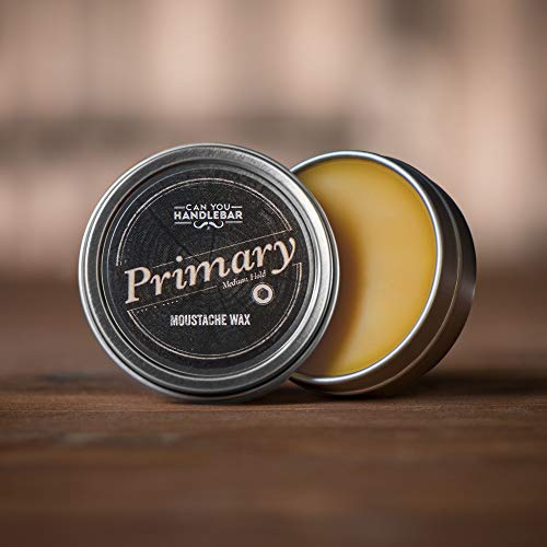 Medium Hold Moustache Wax for Men   Primary Moustache Wax   Moustache Styling Wax   All-Natural Ingredients   1 Oz. Crushproof Stainless Steel Tin