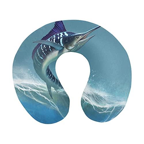 Divertida Espada de Marlin a Rayas en el mar, pez Espada, en Forma de U, cómoda Almohada de Viaje, Almohada de Espuma viscoelástica para el Cuello, para avión, Coche, Oficina, Dormir