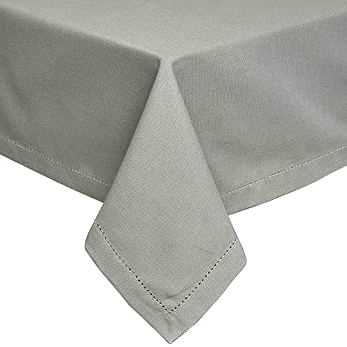 HOMESCAPES Nappe de Table rectangulaire, Linge de Table en Coton uni Gris - 137 x 178 cm