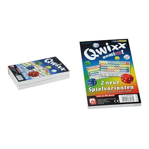 NSV - 4016 - QWIXX ZUSATZBLÖCKE, 2 x 80 Blatt - Würfelspiel & - 4033 - QWIXX GEMIXXT- neue Spielvarianten, 2-er Set Blöcke, Würfelspiel