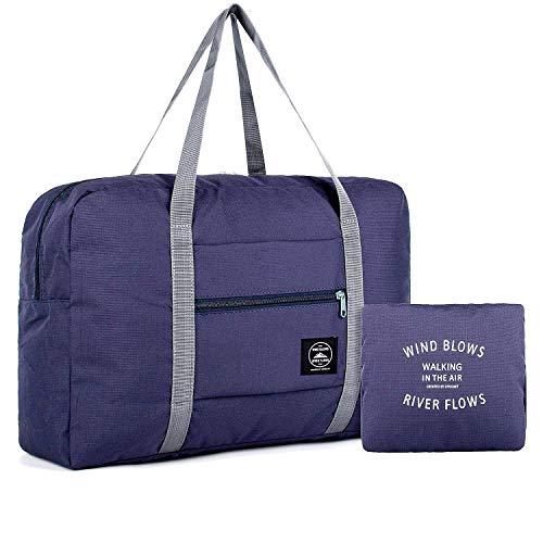 Kayalu 折りたたみ 旅行バッグ トラベルバッグ ボストンバッグ レディース 軽量 防水 キャリーオンバッグ 大容量 旅行 出張 整理用 スーツケースの持ち手に通せる 32L ネイビー