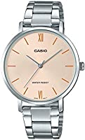 Casio LTP-VT01D-4BUDF Round Stainless Steel Analog Watch for Women, Champagne Dial
