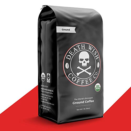 DEATH WISH COFFEE Dark Roast Coffee Grounds [16 oz.] The World's Strongest Coffee, USDA Certified Organic, Fair Trade, Arabica, Robusta (1-Pack)
