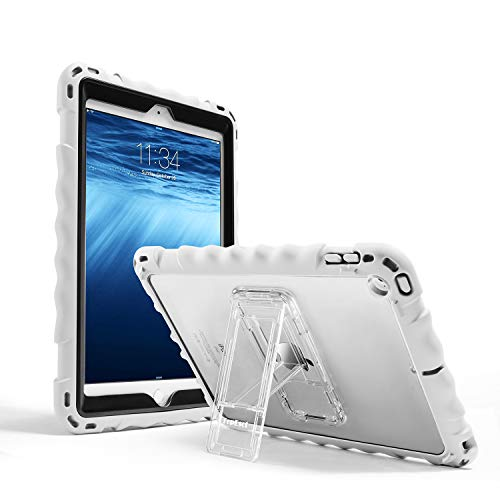 IPad 6th Generation Case, TopEsct Premium Full-Body Silicone Shockproof Protective Case for IPad 5th Generation Cover with Stand and a Adjustable Strap(White)
