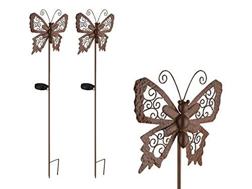 2er Set LED Solarfiguren für den Garten, bronzfarbene Schmetterlinge mit Erdspieß …