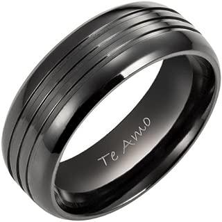 Men`s Black Titanium Ring Engraved Te Amo
