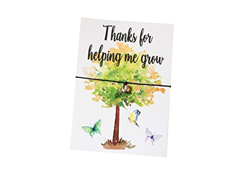 Dios Designs A6 Postcard Print - Thanks for Helping Me Grow - Wish Bracelet, Badge, Magnet, Keyring or Mirror Teacher End of Term Thankyou Gift DD110 (Wish Bracelet)