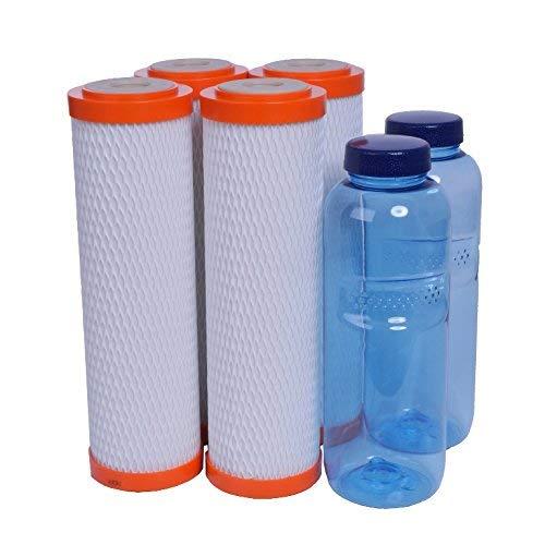 sanquell 4X SPFP Plus Trinkwasserfilter mit hohem Wasserdurchfluß bei extrem hohe Filtration von Bakterien und Schadstoffen | für carbonit-Wasserfilter geeignet | Gratis: 2 BPA-freie Tritan-Flaschen