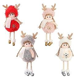 Frgasgds Christbaumkugeln Weihnachtsengel Ornament,4 Stück Weihnachtsengel Spielzeug Hängen Anhänger Christbaumschmuck Weihnachten Engel hängende Dekorationen Engel Ornamente für Weihnachten