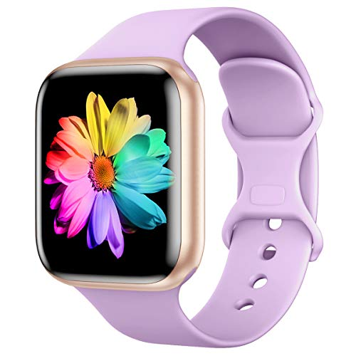 Sport Band Compatible with Apple Watch Band 44mm 42mm, SWHAS Soft Silicone Band Replacement Wrist Strap for iWatch Series 6/SE/5/4/3,Lavender Purple,Small