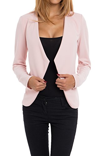 4tuality AO Blazer kragenlos mit Zipper rosa Gr. S
