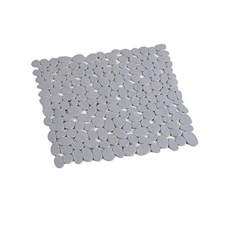 SANIMIX Graue Anti Rutsch Matte für die Dusche - Duscheinlage mit Saugnäpfen - Duschmatte in schöner Kieseldekor Steinoptik - Größe: 54 x 54cm