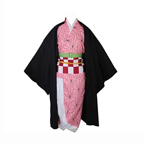 LISI Disfraz Cosplay Anime, Kimetsu No Yaiba Kamado Nezuko Kimono Japonés Ropa Juegos Carnaval, para Máscaras Fiesta Disfraces Navideñas para Niñas Mujer,Pink+Black,XL
