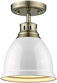 """Golden Lighting 3602-FM AB-WH Duncan Flush Mount, 8.875"""" L x 8.875"""" W x 11.5"""" H, Aged Brass with White Shade"""
