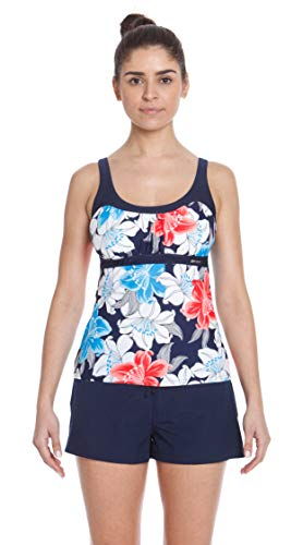 ZeroXposur Womens Tankini Swimsuits Ruched Top Boybrief Bottoms Set (Wreath/Harbour, Small)
