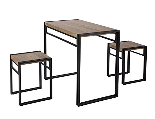 FIVEGIVEN 3 Piece Dining Bistro Table Set Indoor Kitchen Pub Table Set for Small Spaces Sonoma Oak