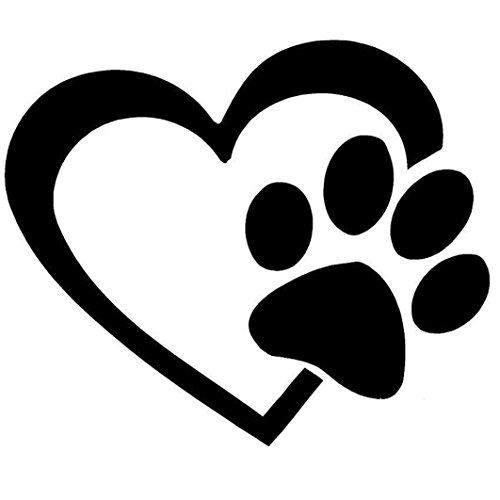 Auto Aufkleber Aufkleber Ronamick Herz mit Hund Pfote Puppy Love Aufkleber Fenster Aufkleber für Autos, Wände (Schwarz)