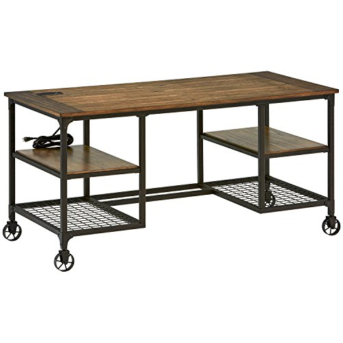 Amazon Brand – Stone & Beam Elias Industrial Metal Office Computer Desk, 60'W, Brown/Black