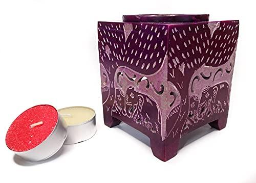 Bruciatore di oli essenziali, in pietra ollaria, 6 modelli differenti, lampade aromatiche ad olio, bruciatore incenso, include 2 candele, dimensioni: 7 x 7 x 9 cm (Jardin di Elefantes)