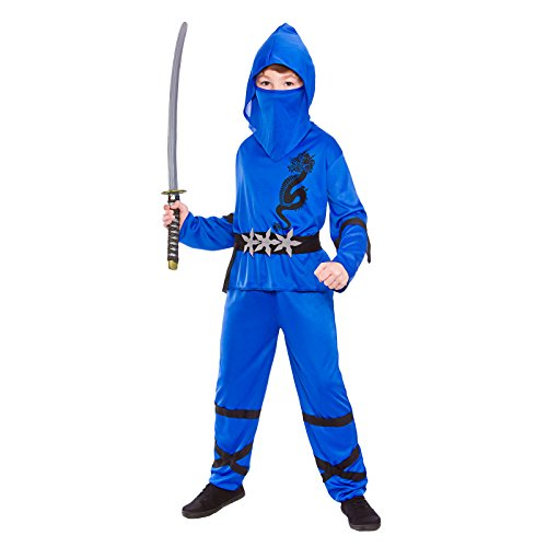 Boys Power Ninja Blue Black Fancy Dress Up Party Costume Halloween Child Outfit