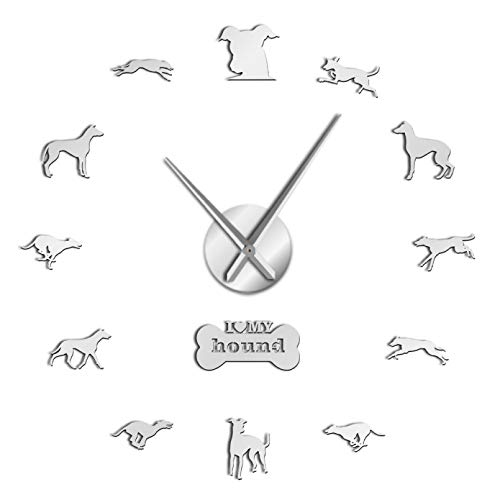 YQMJLF Reloj Pared DIY 3D Grande Adopción de Galgos 3D Whippet DIY Reloj de Pared silencioso Gigante Galgo decoración del hogar Reloj de Pared de Raza de Perro Regalo Amantes de los Perros Pla