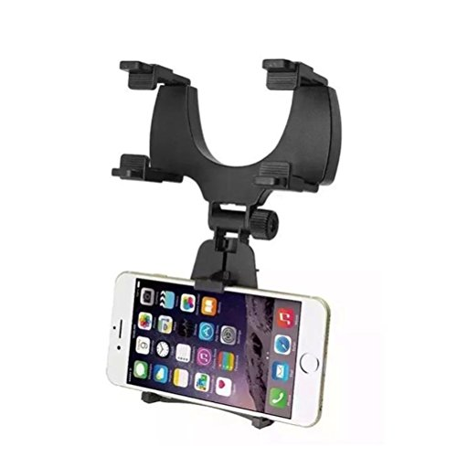 WINOMO Soporte para espejo de coche para teléfono móvil GPS (negro)