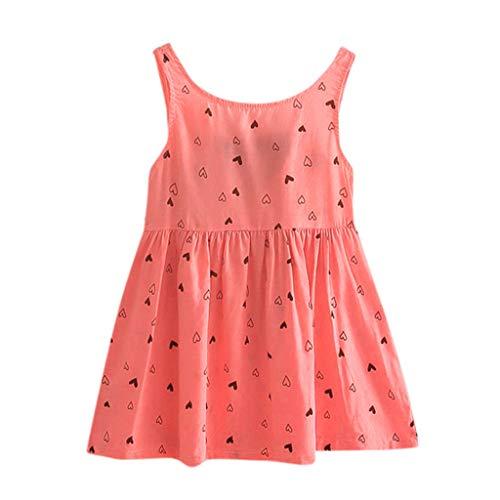 IMJONO Été Robe de Princesse Filles Coton Robe à Fleurs Bébé Fille Cadeau Enfants Fête Mariage sans Manches Robes pour 2020 Tenue d'été pour Enfants 2-7 Ans(Pastèque Rouge,2-3 Ans