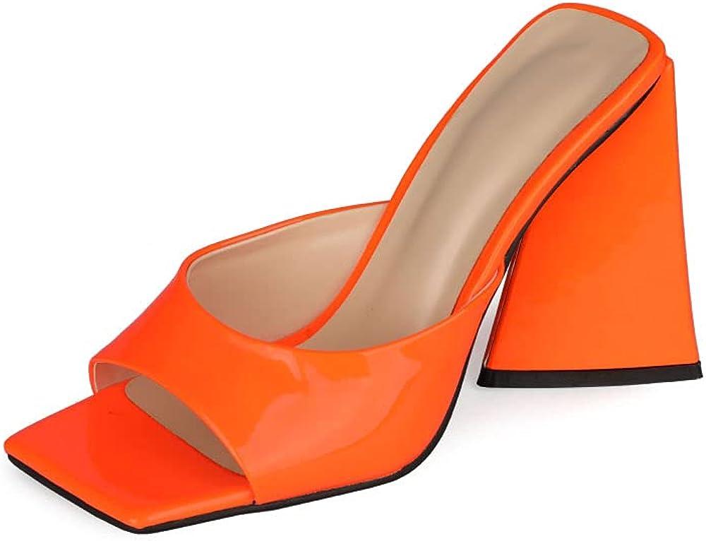 Women's Heeled Mule Sandals Open Toe Chunky Heels Slip On Sandal Summer Slingback Shoes