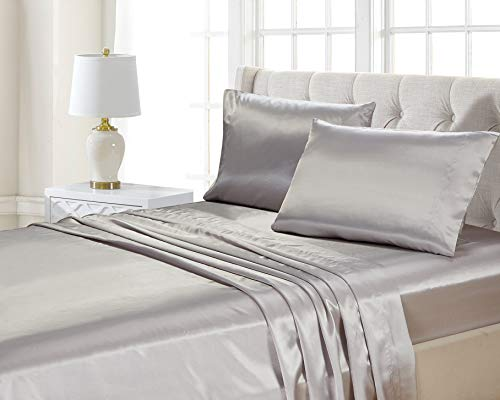 Home Collection 4pc Queen Size Satin Sheet Set Solid Silver Super Soft Touch Bridal New