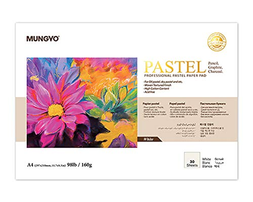 MUNGYO Professional Pastel Paper Pad A4 Size for Oil Pastel, Dry Pastel 30 Sheets (White)