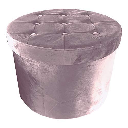 pouf contenitore 60 cm NuvolaNera Pouf poggiapiedi Sgabello Decorativo Contenitore Diametro ø 60 cm Effetto Velluto – Grande capienza – Tenuta Fino a 150 kg. – Cipria