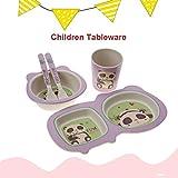 idalinyaa Utensili per Bambini, Set di stoviglie da 5 Pezzi, Piatti per Bambini ecologici e Set di Ciotole per Bambini per Bambini(Panda)