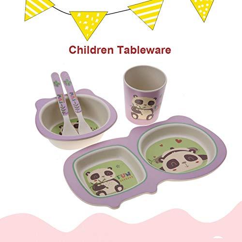 Rodipu 5 Piezas de vajilla para niños, Juego de vajilla, para niños, bebés, niños pequeños(Panda)