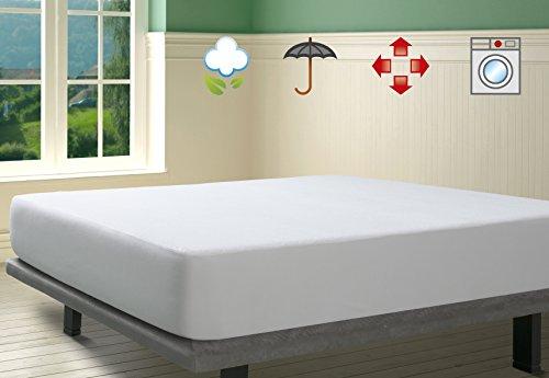 SAVEL, Protector de colchón Impermeable, Rizo 100{a378e0bc44a1c8a5f3dc3f6ce668f7d7f8cadee71af823471d792be66ead87d9} algodón - Antialérgico, 120 x 200 cm (para Camas de 120)