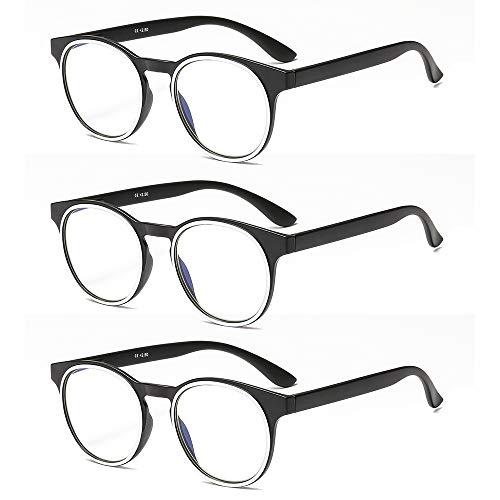 Suertree Anti Blue Lesebrille 3 Pack Computer Brille Herren Damen Anti Rays Lesebrillen für Frauen Männer Fashion Leser 3.5X JH214