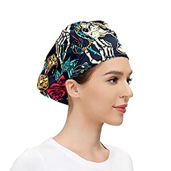 Working Cap with Sweatband Adjustable Fluffy Hats for Women Men One Size Working Head Cover Headdress Ladies/Men Vintage Tattoos Colorful Python
