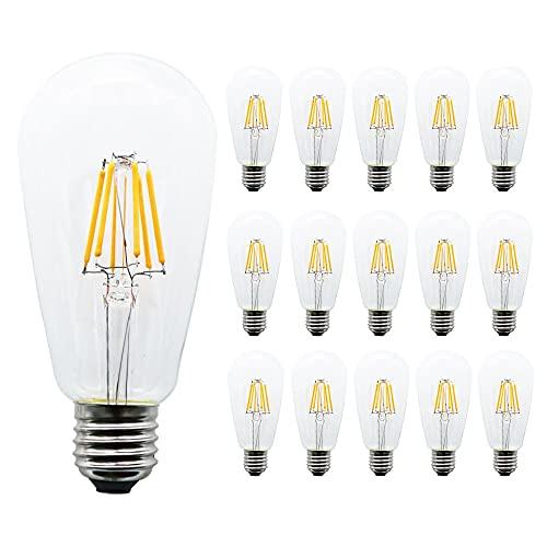 Bombilla LED de 15 piezas 6w, Bombilla LED Edison, Bombilla de filamento LED vintage de 6W, Bombilla LED ST64, 2700K, Estilo antiguo, Base de tornillo mediana E26, Cubierta de vidrio transparente
