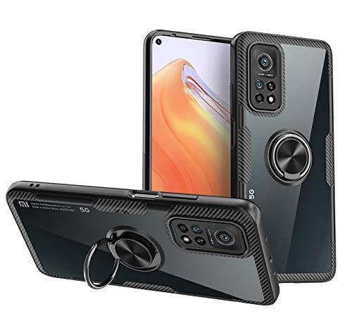 TOPOFU Funda Xiaomi Mi 10T Pro/10T 5G Funda,Transparente Anti-amarilleo PC Back & TPU Silicona Bumper Carcasa con Automóvil Magnético Soporte Funda para Xiaomi Mi 10T Pro/10T 5G-Negro