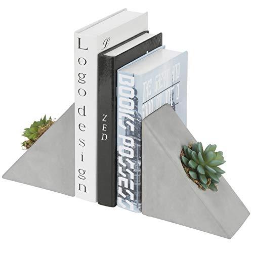 MyGift Buchstützen aus Beton mit dekorativer künstlicher Sukkulente, 1 Paar