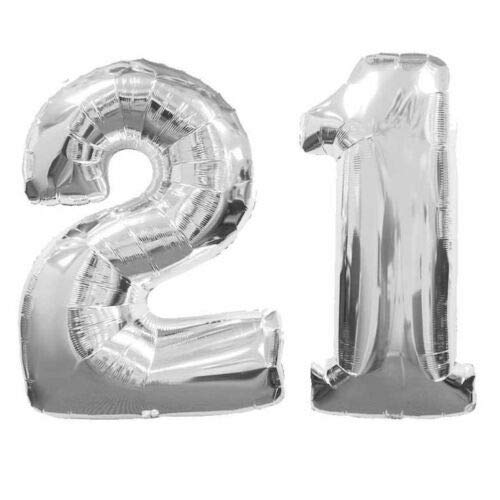 Great Deal! Cutdek Large Number 21 Silver Balloons 21th Birthday Anniversary Foil Float Helium USA
