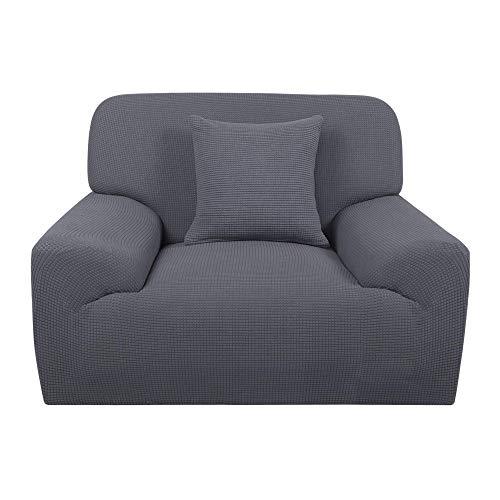 YeVhear Funda de sofá extensible 1 pieza funda de sofá Jacquard antideslizante funda de sofá + 1 funda de cojín protector de muebles para salón gris pequeño