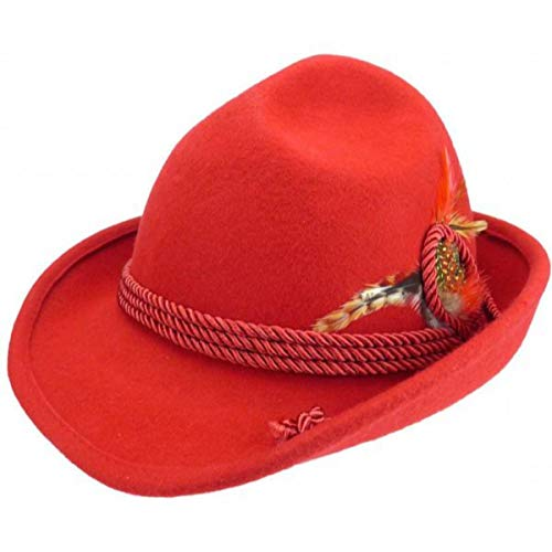 Traditional Bavarian German Wool Fedora Red Hat with Rope & Deluxe Feather by E.H.G. |Small|Hat for Men and Hat for Women
