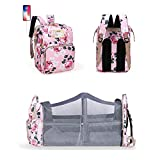 YYL Multifunctional Baby Bed Back Pack with Changing Station, USB Charging Port Diaper Bag Backpack, Foldable Baby Travel Bag with Toy Bar