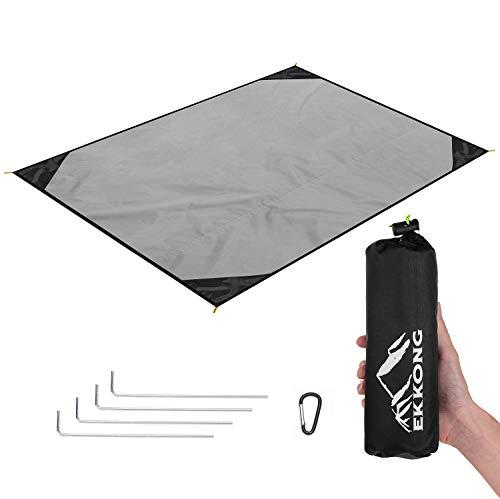 EKKONG Picknickdecke Wasserdicht, Ultraleicht, Kleines Packmaß - Ideal für Ground Sheet, Pocket Blanket, Stranddecke, Taschendecke, Campingdecke, Sitzunterlage (200cm*200cm, Schwarz&Grau)