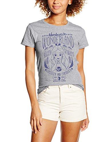 Disney Alice Adventures In Wonderland Camiseta, Gris (Grey Marl), L para Mujer