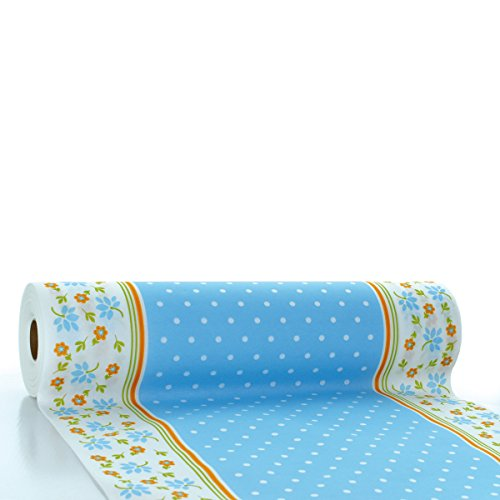 Sovie HORECA Tischläufer Lea | Linclass® Airlaid Tischläufer 40cm x 24m | Tischdecken-Rolle stoffähnlich | Einmal-Tischdecke für Feierlichkeiten | Hellbau