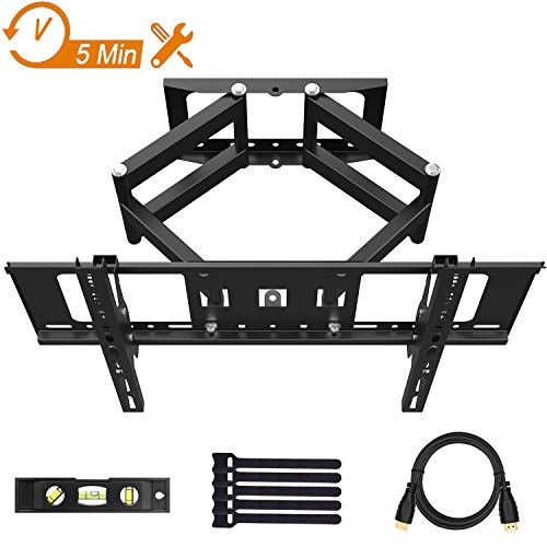 TV Wall Mount for Most 32-70 Inches Flat & Curved TVs, Wall Mount TV Bracket with Dual Six Swivel Articulating Arm, Max VESA 600x400mm Fits LED, LCD, OLED Flat Screen TVs by Wsky
